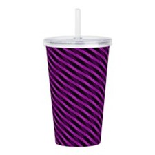 Purple Stripes Acrylic Double-Wall Tumbler