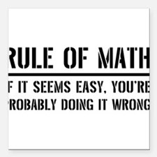 "Rule of math Square Car Magnet 3"" x 3"""