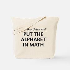 Alphabet in math Tote Bag