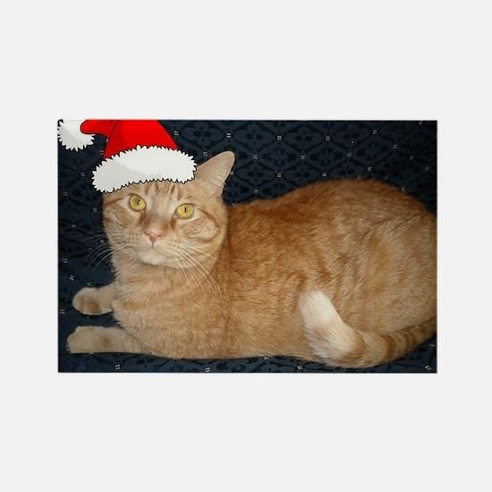 Christmas Orange Tabby Cat Rectangle Magnet