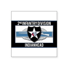 """2nd Infantry Indianhead CIB Square Sticker 3"""" x 3"""""""