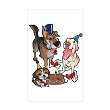 Birthday Dogs Rectangle Decal