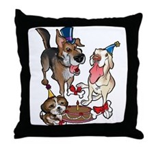 Birthday Dogs Throw Pillow