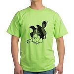 Collie Play Bows Green T-Shirt