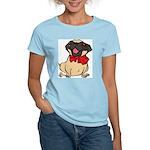 Pug with a bow Women's Light T-Shirt