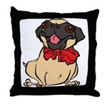 Pug with a bow Throw Pillow
