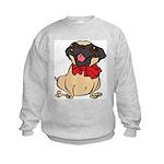 Pug with a bow Kids Sweatshirt