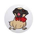 Pug with a bow Ornament (Round)