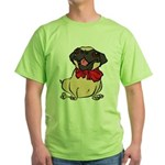 Pug with a bow Green T-Shirt