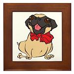 Pug with a bow Framed Tile