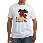 Pug with a bow Fitted T-Shirt