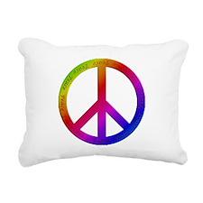 Colorful Peace Sign Rectangular Canvas Pillow