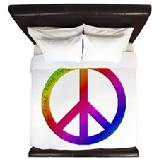 Colorful Peace Sign King Duvet