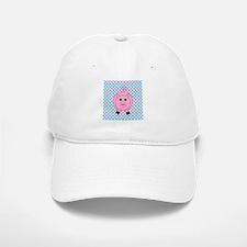 Pink Pig on Teal and Pink Baseball Baseball Baseball Cap