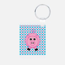 Pink Pig on Teal and Pink Keychains