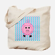 Pink Pig on Teal and Pink Tote Bag