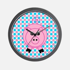 Pink Pig on Teal and Pink Wall Clock
