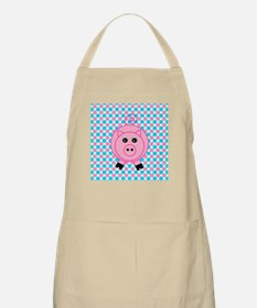 Pink Pig on Teal and Pink Apron