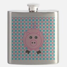 Pink Pig on Teal and Pink Flask