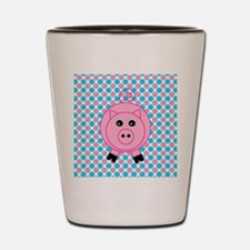 Pink Pig on Teal and Pink Shot Glass
