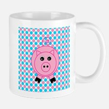 Pink Pig on Teal and Pink Mugs