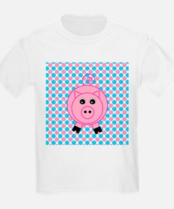 Pink Pig on Teal and Pink T-Shirt