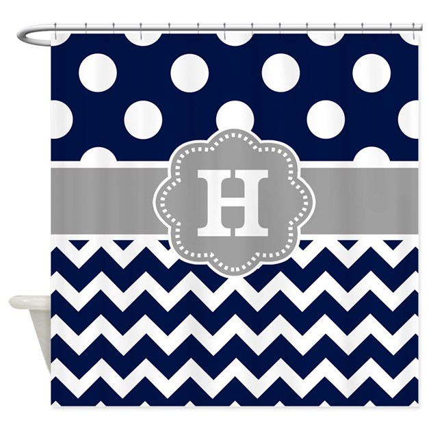 Navy Gray Dots Chevron Monogram Shower Curtain By