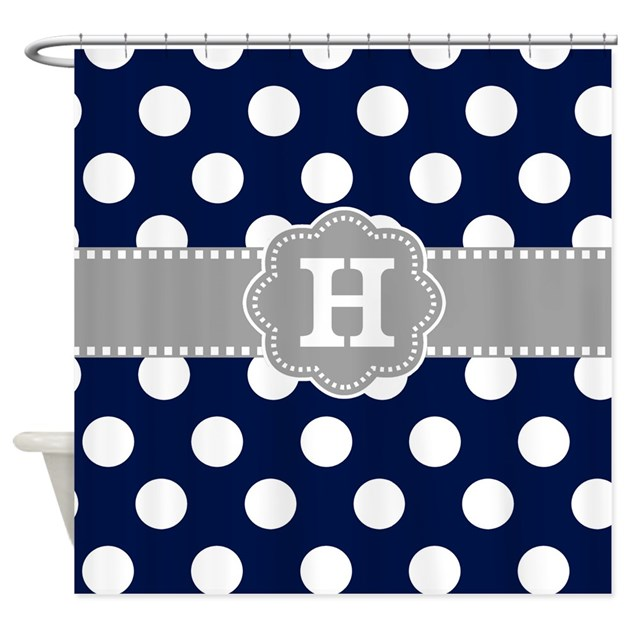 Navy Gray Polka Dots Monogram Shower Curtain By
