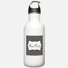 Personalizable Black and White Polka Dots Water Bo