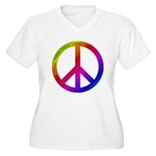 Colorful Peace Sign Plus Size T-Shirt
