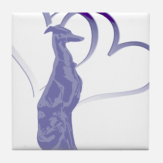 Whippet Hearts Tile Coaster