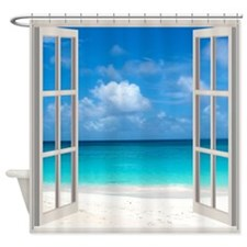 Tropical Beach View Shower Curtain