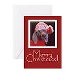 Weimaraner Doggie Santa Hat Cards (10ct.)