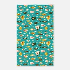 Colorful Retro Fish 3'x5' Area Rug