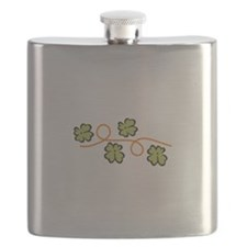 4 Leaf Clover Border Flask