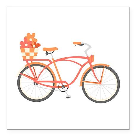 "Pink Cruiser Bike Square Car Magnet 3"" x 3"""