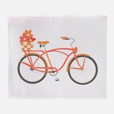 Pink Cruiser Bike Throw Blanket