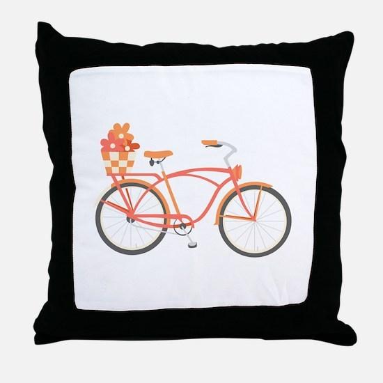 Pink Cruiser Bike Throw Pillow