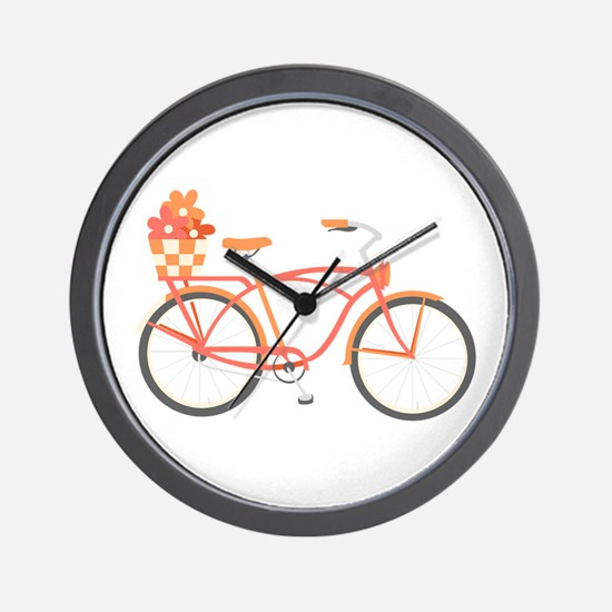 Pink Cruiser Bike Wall Clock