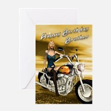 For brother, a sexy girl on a chopper Greeting Car