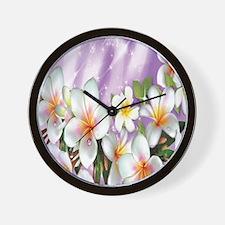 Plumeria Floral Wall Clock