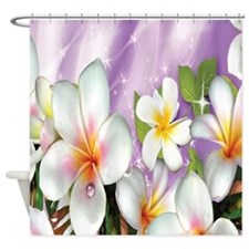 Plumeria Floral Shower Curtain