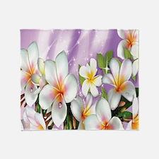 Plumeria Floral Throw Blanket