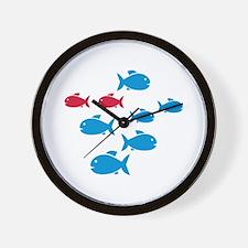Blue Red Fish Wall Clock
