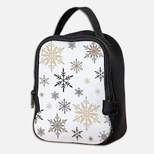 modern vintage snowflakes Neoprene Lunch Bag