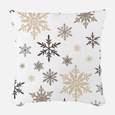 modern vintage snowflakes Woven Throw Pillow