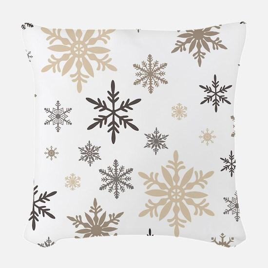 modern vintage snowflakes Woven Throw Pillow