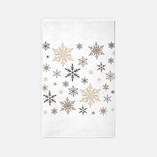 modern vintage snowflakes 3'x5' Area Rug
