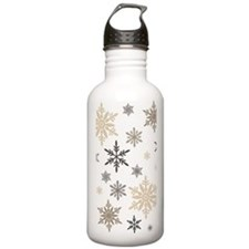 modern vintage snowflakes Water Bottle