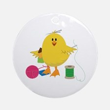 Sewing Chick Ornament (Round)